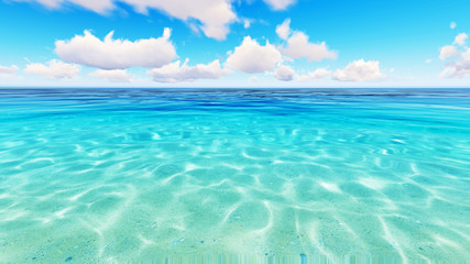 Tropical sea sky clouds blue