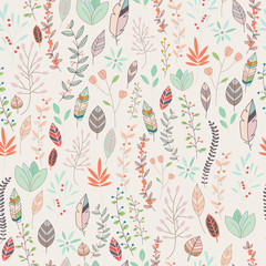Seamless pattern design with hand drawn flowers, floral elements