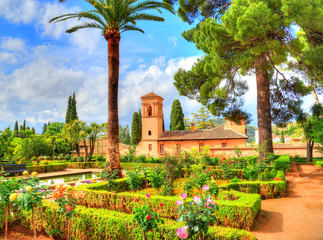 Beautiful garden near a monument, in Granada - Spain