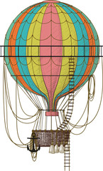 Vintage hot air balloon with ladder isolated on white
