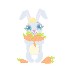 Bunny With The Hands Full Of Carrots
