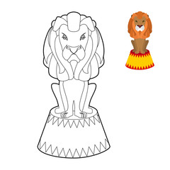 Circus lion coloring book. Big Serious animal in linear style. W