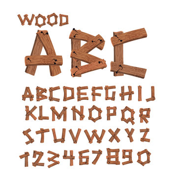 Wood font. Old boards alphabet. Wooden planks with nails alphabe