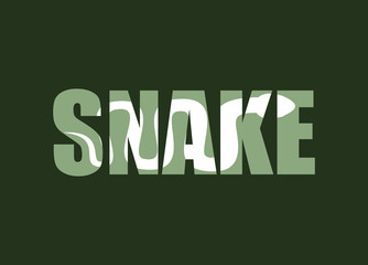 Snake. Silhouette of reptiles in text. Long poisonous reptile an
