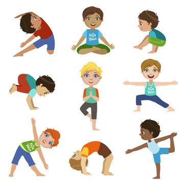 Little Boys Doing Yoga Set