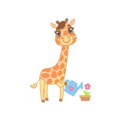 Giraffe Watering The Flowers