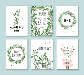 Set invitation with green plants. Cards for birthdays, holidays, parties. Wedding Invitations.