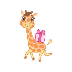 Giraffe With Gift On The Back
