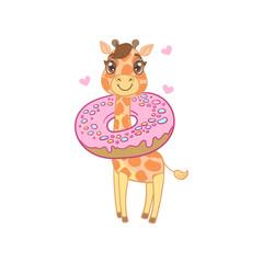 Giraffe With Donut Around The Neck