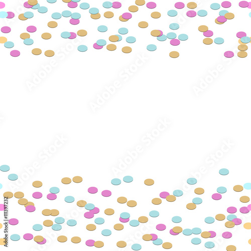 Confetti tinsel border vector background colorful circles frame confetti tinsel border vector background colorful circles frame seamless sides border for card templates and stopboris Gallery