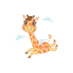 Giraffe Playing With Paper Planes