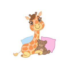 Giraffe With Teddy Bear