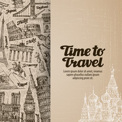 journey, travel. design template banner or flyer. vector illustration