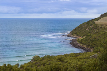 Landscape view of the Bass Strait sea and mountain at Cape Nelson Conservation reserve at at Cape Bridgewater in Victoria, Australia