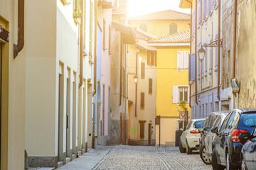 Narrow street between italian houses in old town , Toning.Soft focus.
