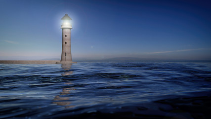 3D rendering of a lighthouse and sea waters, seascape