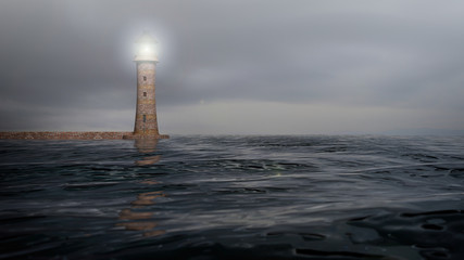 3D rendering of a lighthouse and sea waters with cloudy sky, seascape