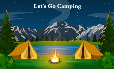 poster showing campsite with a campfire