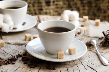 pair cups coffee stump