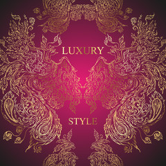 Pattern of birds and feathers on dark pink background. Luxury st