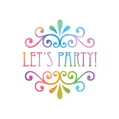 LET'S PARTY Multicoloured Watercolour Invitation Card