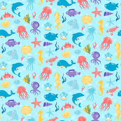 Seamless pattern with different sea underwater animals in cute c