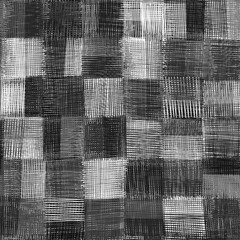 Checkered grunge striped guilt seamless pattern in black and whi