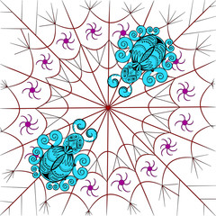 Two graphic stylized spider on the web. Turquoise figures of beetles on red web
