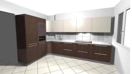 beige modern kitchenbrown wooden 3D rendering