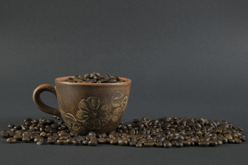 Сeramic coffee cup on dark background