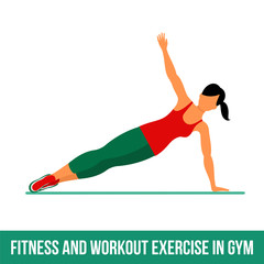 Fitness, Aerobic and workout exercise in gym. Vector set of gym icons in flat style isolated on white background. woman in gym, gym.