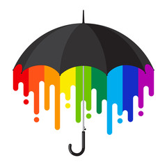 rainbow black umbrella