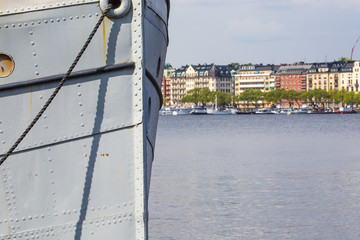 Scenic panorama of the Old Town (Gamla Stan) pier architecture i