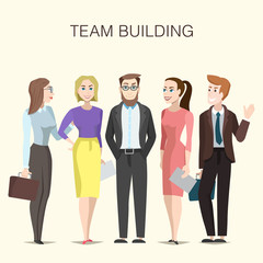 Team building illustration with cartoon men and women characters.