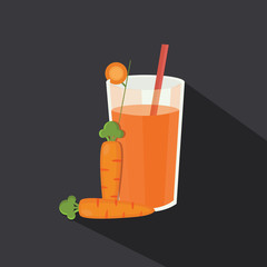 Abstract vector fresh carrot juice icon