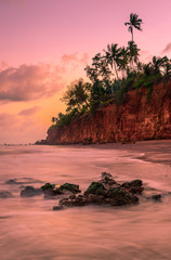 Seascape at sunset in Thailand. Nature and travel concept.