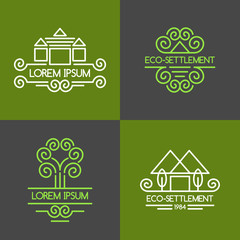 Set of vector illustrations for an eco settlement