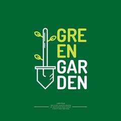Vector illustration of a green garden