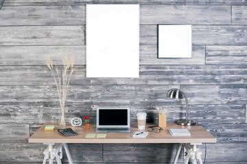 Interior with designer desktop