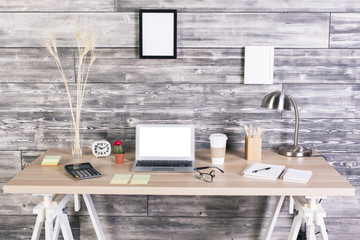 Creative workplace white screen