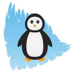 Cartoon penguin on an abstract blue background, depicting an ice