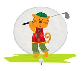 Cat Playing Golf - Cartoon clip art of a cat playing golf