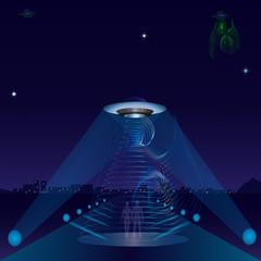UFO alien ship night city road spotlights