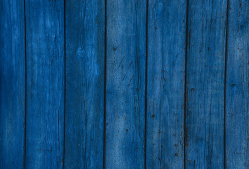 Old wooden  blue horizontal boards. Front view with copy space.