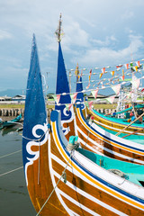Old traditional wooden Indonesia colored boats in Bali Island, I