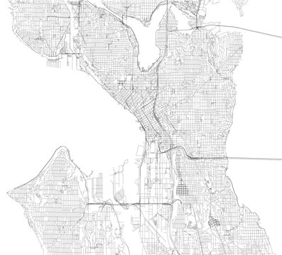 Mappa di Seattle, vista satellitare, strade e vie, Usa