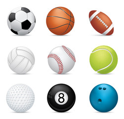 Sport balls on white background
