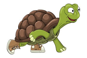 Cartoon turtle in sneakers readies to start  running