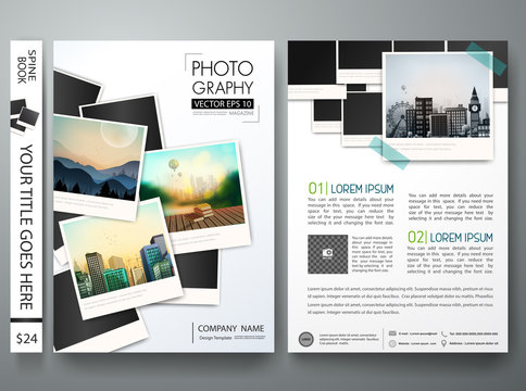 Brochure magazine poster about photography.Flyers design template vector.Leaflet cover book business presentation with photograph background.Layout in A4 size.illustration.