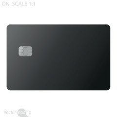 Black credit card on white background